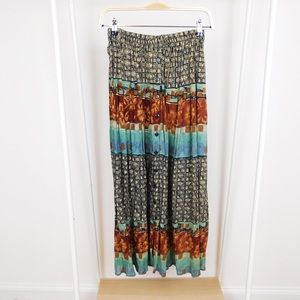 Vintage Light Patterned Button Front Maxi Skirt